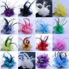 Flower Fascinator Feather Pearl Corsage Hair Clip Wedding Party Brooch Hairpin