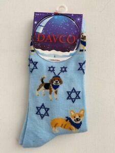 Davco Hanukkah Holiday Crew Socks Puppy Print Blue Multi