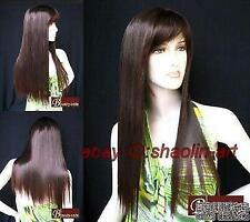 Wigs,brun fonce longue raide santé cosplay Costume cheveux perruques
