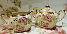 Rare Sadler Cube Cabbage Rose Floral Gold Trim Cream Sugar No Teapot 1949