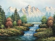 Large Oil Painting Swiss Alps Forest Mountains River Rapids Landscape Signed