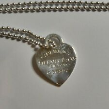 "Tiffany & Co. Sterling Silver Heart Tag Ball 34"" Chain Necklace(A97)"