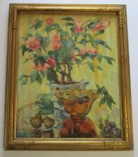 ANTIQUE AMERICAN STILL LIFE PAINTING SIGNED CARVED FRAME ART DECO FRUIT FLOWERS