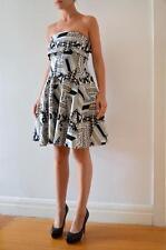 CUE Blue White Black Jacquard Strapless Cutout Back Fit & Flare Dress 8 $365