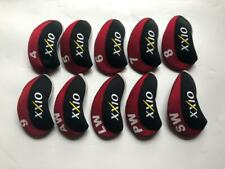 10Pcs Golf Iron Covers for Xxio Club Headcovers Caps 4-Lw Red&Black Universal