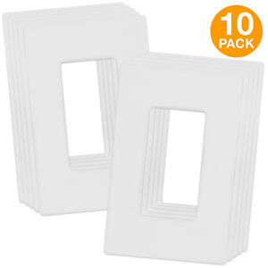 Screwless Wall Plate Decorator Switch Cover 1 Gang Standard Size 10 Pack
