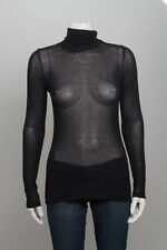 VINCE Black Angora Sheer Ribbed Turtleneck Long Sleeve Knit Sheer Sweater Top XS