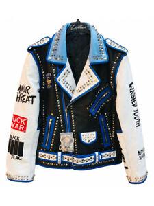 Handmade Men's Fashion Studded Punk Style Leather Jacket