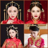 Traditional Chinese Wedding Bridal Ancient Hair Stick Tiara Headband Earring Set
