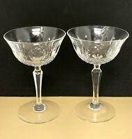 Tiffin Franciscan Elyse  Stem Cut Crystal Champagne Sherbet Glasses Set Of 2