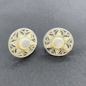 Vintage Snowflake Carved Mother of Pearl Clip On Earrings