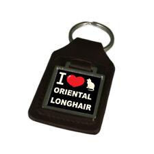I Love My Cat Key Ring Engraved Oriental Longhair