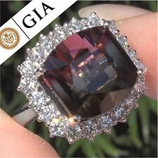 GIA 16.15 ct FLAWLESS Natural Watermelon Tourmaline Diamond 14k White Gold Ring
