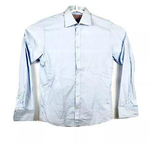 Thomas Pink Cotton Dress Shirt Slim Fit Blue French Cuff Button Down Mens Sz 16