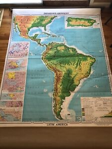 Denoyer-Geppert Vintage School Wall Map Latin America South America Central Pull