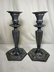 E.G. Webster Pair Of Silverplate Candlesticks 19th Century 1001
