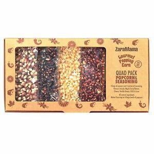 Zaramama Gourmet Popping Corn Quad Pack Assorted Popcorn & Seasoning Gift Box