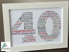 1st 18th 21st 30th 40th 50th 60th Birthday Personalised Word Art Gift Keepsake