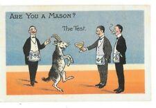 """Postcards Masonic Comic, """"Are You a Mason ? """" The Test, No.2683"""
