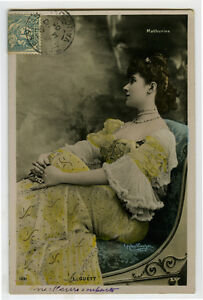 c 1908 French Theater Music Hall LIGUETT Theater tinted photo postcard