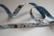 PRETTY FLOWER  - BRAID - BLUE TRIM 10mm Wide
