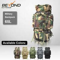 Military 65L CAMPING HIKING MOUNTAIN TRAVEL BACKPACK water proof with rain cover