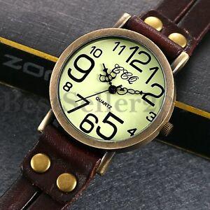 Herren Vintage Braun Großes Zifferblatt Uhr Lederarmband Analog Quarz Armbanduhr