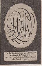 EX-LIBRIS Pierre DUCREST de VILLENEUVE (1771-1828) Rennes (Ille-et-Vilaine).