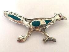 Bird Brooch 925 Sterling Silver Vintage Sterling Silver Blue Enamel Running