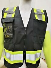Fx Two Tone Black Safety Vest With 4 Front Pocket Small To 2xl