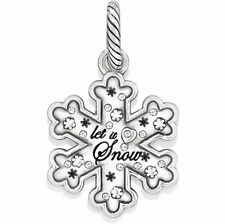 BRIGHTON SNOWFLAKE LET IT SNOW CHRISTMAS SWAROVSKI CRYSTAL SILVER CHARM PENDANT