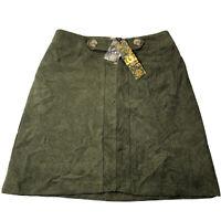 NWT E-LADY Women's Green Army/Sage Corduroy Mini Skirt Size 8
