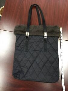 Limited Edition Bath & Body Works Black Quilted Tote With Faux Fur Pre-Owned