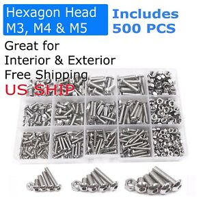 1000Pcs//SET Stainless Steel Bolts With Electronics Screw Nuts Assortment He E6Y4