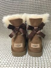 UGG MINI BAILEY BOW II CHESTNUT SUEDE BOOTS SIZE US 8 WOMENS