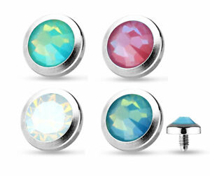 Flat Bottom Opal 14G Dermal Anchor Surface Top Stainless Steel Body Jewelry NEW
