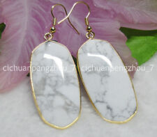 Natural White Turquoise Huge 23X43MM Real Gemstone Hook Drop Dangle Earring