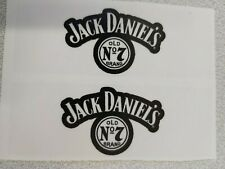 JACK DANIELS-CLEAR GLOSS BLACK AND WHITE RECTANGLE STICKERS 2-PCS 100mm x 35mm