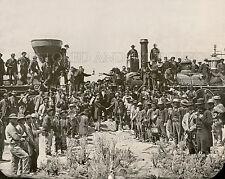 Union Pacific & Central Railroad trains meet Promontory Utah 1869 photo transcon