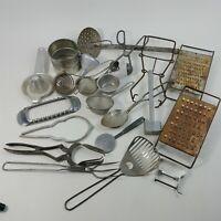 Kitchen Utensils Metal Funnel Grater Measuring Plus More - Primitive Lot