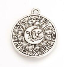 2 Large Sun Pendants Antiqued Silver Sun and Moon Celestial Zodiac Charms 29mm