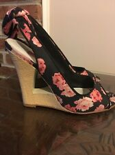 Betsy Johnson Wedge Sandals Heels  Slingback Cutout Black Pink Floral Size 6 36