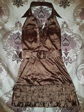 ICE Chocolate Brown Halter Neck Satin Ra Ra Dress