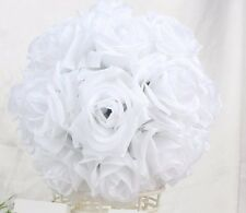 "7.5"" Rose Flower Pomander Kissing Balls Wedding Pew, Home Decoration  - White"
