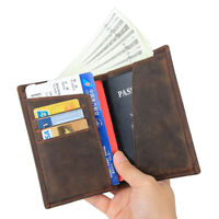 Mens Real Leather Bifold Wallet Clutch Boarding Pass Passport Holder Card Case