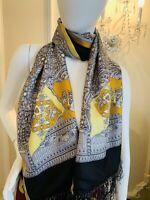 VINTAGE VERSACE Silk Wool Medusa Stole Long Scarf Shawl Wrap Gray Yellow  ITALY