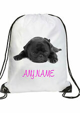 GIRLS Personalised black PUG puppy Gym BAG for Swim PE Dance School Great