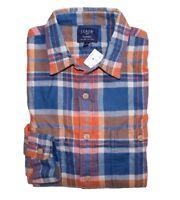 J Crew Factory - Mens L - Slim Fit - Blue/Orange Plaid Flannel Duel Pocket Shirt