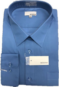 """Men's Solid Color Dress Shirts from Modena - 18"""", 18 1/2"""" & 19"""" neck"""