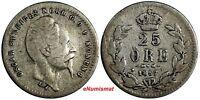 SWEDEN Oscar I Silver 1857/6 ST 25 Ore Mintage-434,000 OVERDATE SCARCE KM# 684